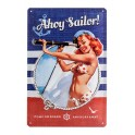 Plaque métal 3D 20x30 cm sous licence: Pin-up Ahoy sailor
