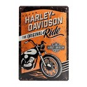 Plaque 3D métal 20x30 cm Harley Davidson: The original ride avec moto