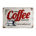 Plaque métal 3D 20x30 cm sous licence: Strong coffee served here