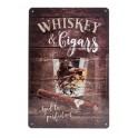 Plaque métal 3D 20x30 cm sous licence: Whiskey and cigars
