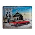 Plaque 3D métal :Route 66 avec Cadillac rouge 30 x 40 cm