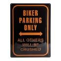 Plaque 3D Métal Harley Davidson : Biker Parking Only, 30 x 40 cm