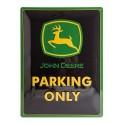 Plaque 3D métal noire 30x40 cm : John Deere parking only