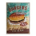 Plaque métal 3D 30 x 40 cm sous licence: Delicious burgers