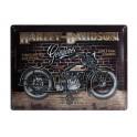 Plaque 3D métal : Harley Davidson moto noire 30 x 40 cm