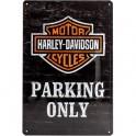 Plaque 3D Métal Harley Davidson : Parking Only, 30 x 40 cm