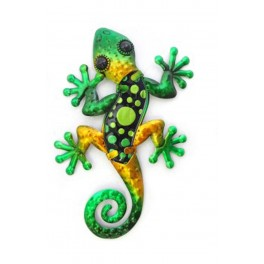 Le Gecko Vert Bouteille & Emeraude, Collection SPIRALE H 21 cm