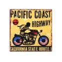 Plaque métal Moto Vintage : Pacific Coast avec moto USA, H 30 cm