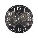 Horloge rétro, Modèle Noir Cartograhie, Mdf, Diamètre 58 cm
