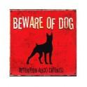 Plaque métal chien : Beware of dogs, 30 x 30 cm