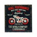 Plaque métal Moto Vintage : Rebel performance, 30 x 30 cm