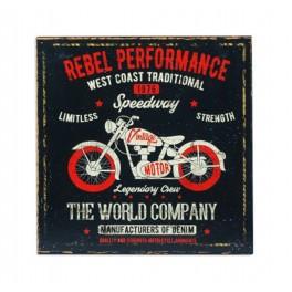 Plaque métal Moto Vintage : Rebel performance, 30 x 30 cm