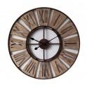 Grande horloge ronde Vintage, Bois & Métal Industrielle, Diam 70 cm