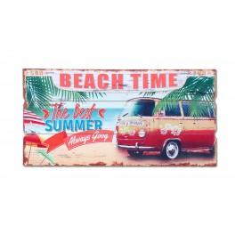 Déco murale Vintage. Plaque Combi Rouge Beach Time : Best Summer, L 60 cm