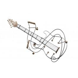 Déco Murale Artisanale Musique Guitare Doré H 82 Cm