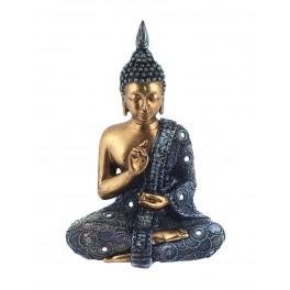 Statuette Bouddha, Nuances violet et vert émeraude, H 30 cm
