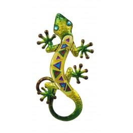 Le Gecko Vert Bouteille & Emeraude, Collection SPIRALE H 30 cm