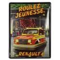 Plaque Métal bombée : Renault 4 L Roulez Jeunesse, H 30 cm