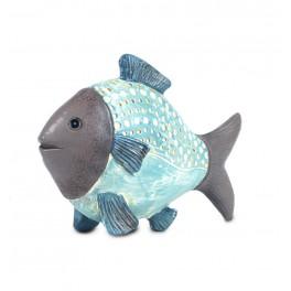 Déco petit poisson résine bleu: collection Philippines , L 10.5 cm