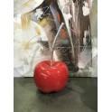 Cerise déco L, design rouge et queue argent, H 35 cm