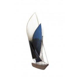 Déco murale Métal : le bateau design à double viles, Bleu & Blanc, H 66 cm
