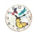 Horloge Florale Papillon, Coccinelle et Libellule, Diam 34 cm