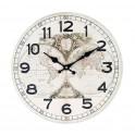 Horloge rétro, Modèle blanc, Planisphère, Diamètre 34 cm