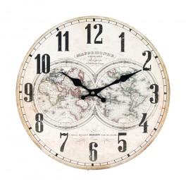 Horloge rétro, Modèle blanc 1, Mappemonde, Diamètre 34 cm