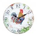 Horloge rétro : Coq coloré dans un écrin de verdure, Diamètre 34 cm