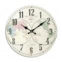 Horloge rétro : Modèle Planisphère coloré 2, Diam 34 cm