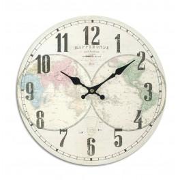 Horloge rétro : Modèle Planisphère coloré 1, Diam 34 cm