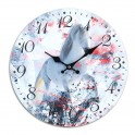 Horloge rétro romantique : Le cheval blanc, Mod 1, Diam 34 cm