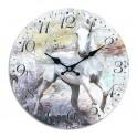 Horloge rétro romantique : Le cheval blanc, Mod 2, Diam 34 cm