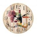 Horloge Vin Rouge : Wine Market, Diam 34 cm