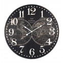 Grande Horloge MDF : Cartographie, Fond Noir, Diam 58 cm