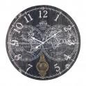 Pendule MDF à balancier : Mappemonde, Fond Noir, Diam 58 cm