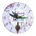 Grande Horloge murale : Lavande sur table ancienne, Diam 34 cm