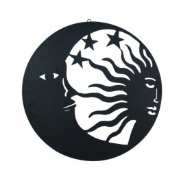 Déco Métal Murale Soleil Lune Noir H 60 Cm