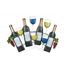Déco murale vin : 4 Bouteilles et 4 verres, L 77 cm