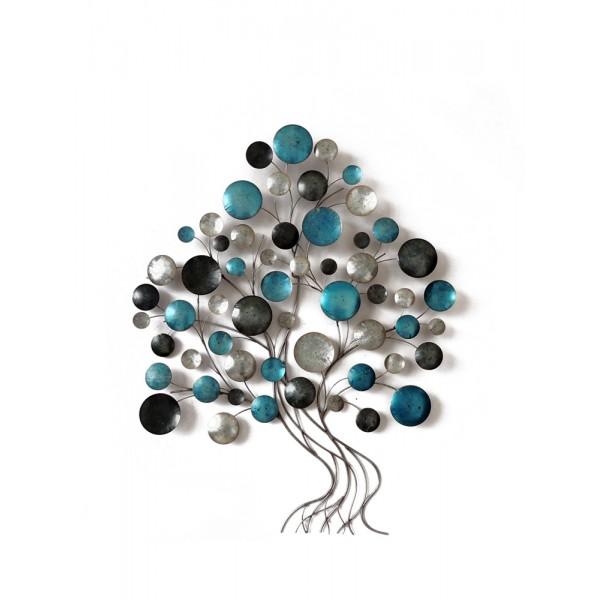 Décoration Murale Arbre De Vie Xl Design Disques Bleus H 102 Cm