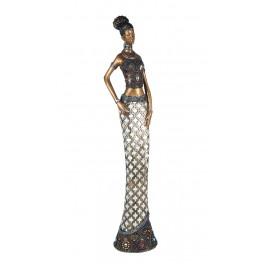 Statuette XL : Africaine en pagne kita, Collection Ethnik, H 60 cm