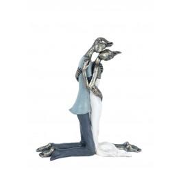 Statuette Romantique : Le Couple amoureux sur genoux, Modèle Color, H 20 cm