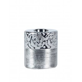 Bougeoir cylindrique céramique : Modèle Silver Roses (Grand), H 12 cm