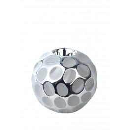 Bougeoir design céramique : Modèle Silver Groove, Grand, Diam 13 cm