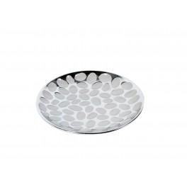 Plateau design céramique : Modèle rond Silver Groove, Diam 28 cm