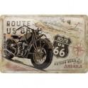 Plaque 3D métal Moto : Road 66, The Mother Road of America, 30 x 20 cm
