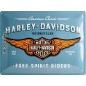 Plaque 3D métal : Logo Harley Davidson avec ailes 30 x 40 cm