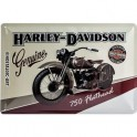 Plaque 3D métal Harley Davidson : 750 Flathead, 20 x 30 cm