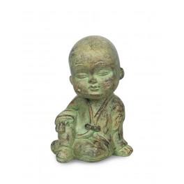 Petit Moine Assis Mod 3, Collection ZENTRENDS, Vert, H 20 cm