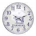 Horloge rétro en métal, Mod Vache Farmer's Market, Diam 40 cm